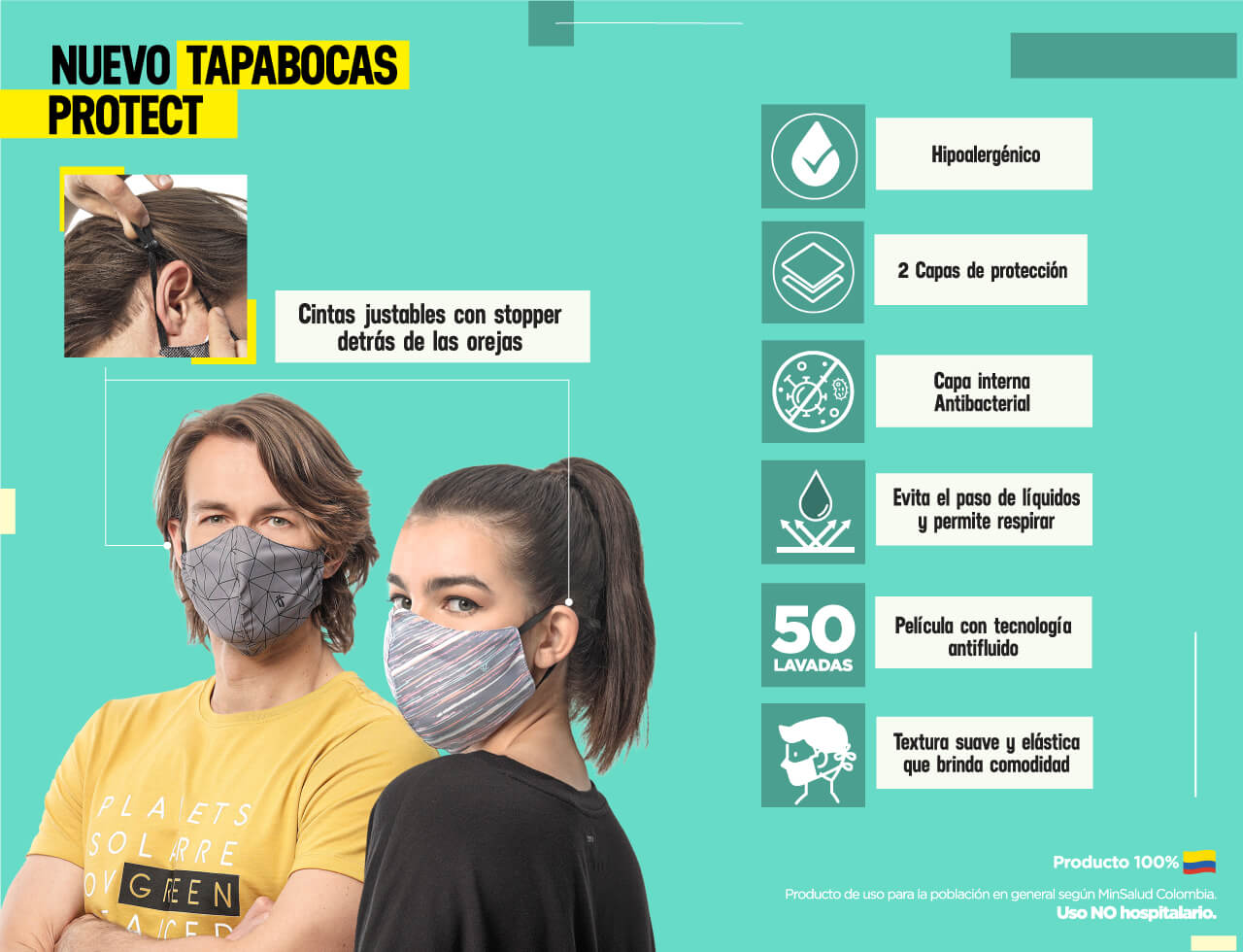 Tapabocas be safe antifluido